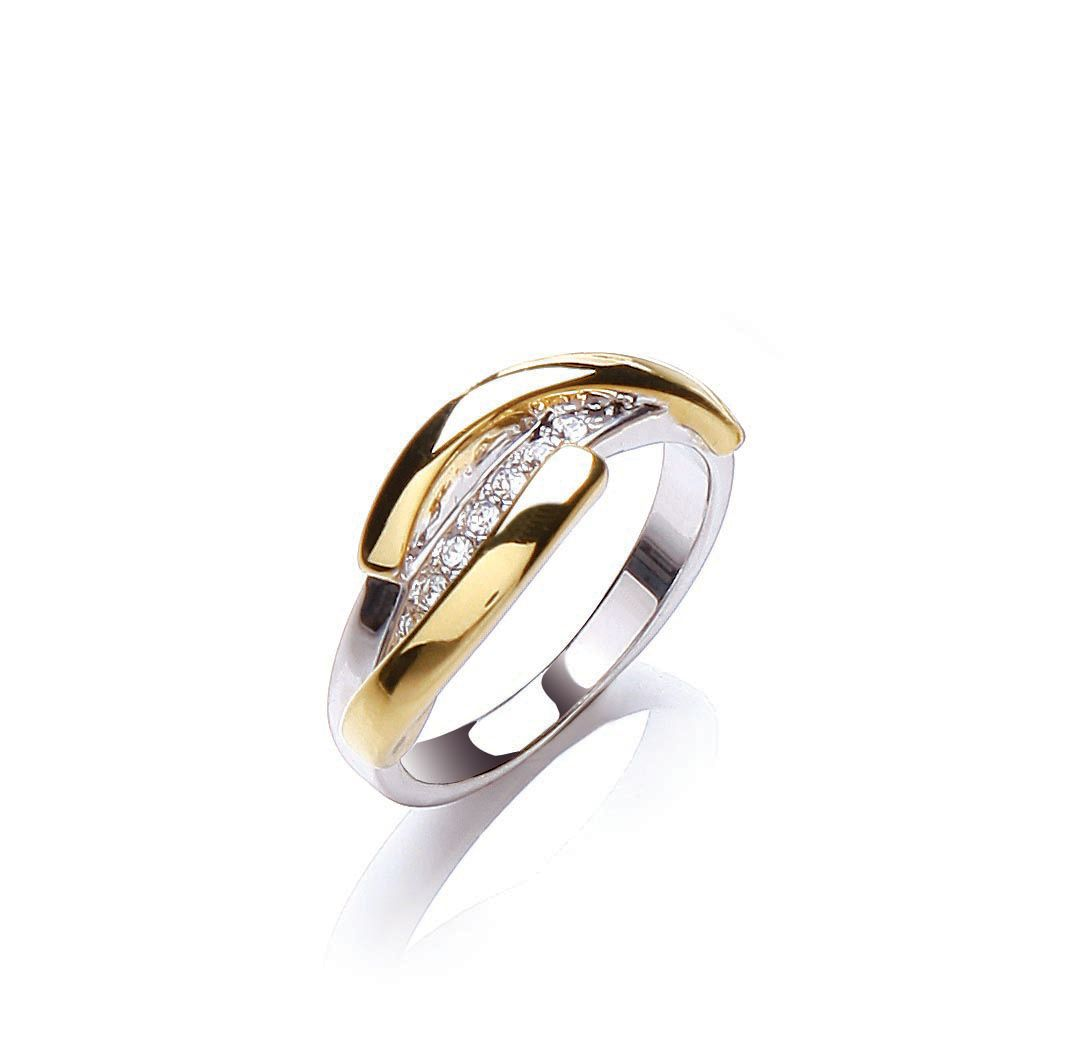 buckley london two tone strand ring
