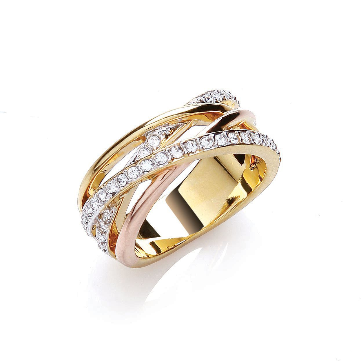 Tri colour strands ring