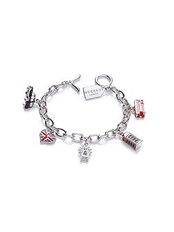 Buckley London Rhodium plated london charm bracelet