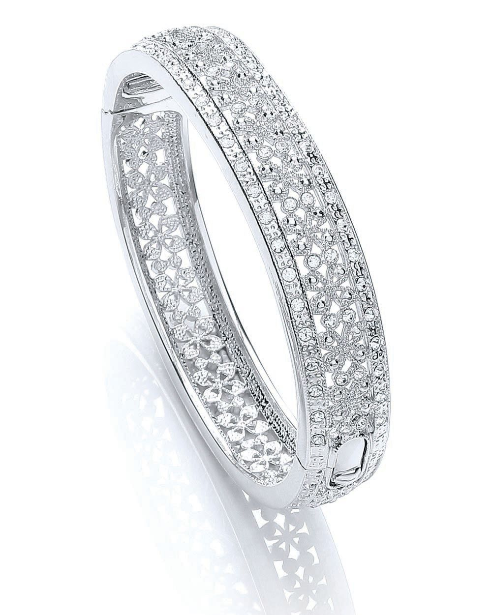 Rhodium vintage floral bangle