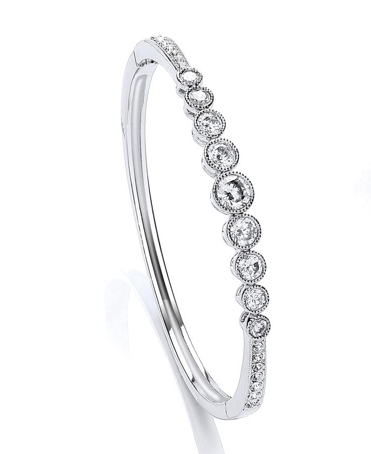 Rhodium plate millgrain bezel bangle