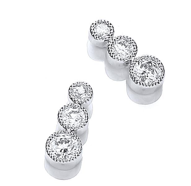 Rhodium plate millgrain bezel set earrings