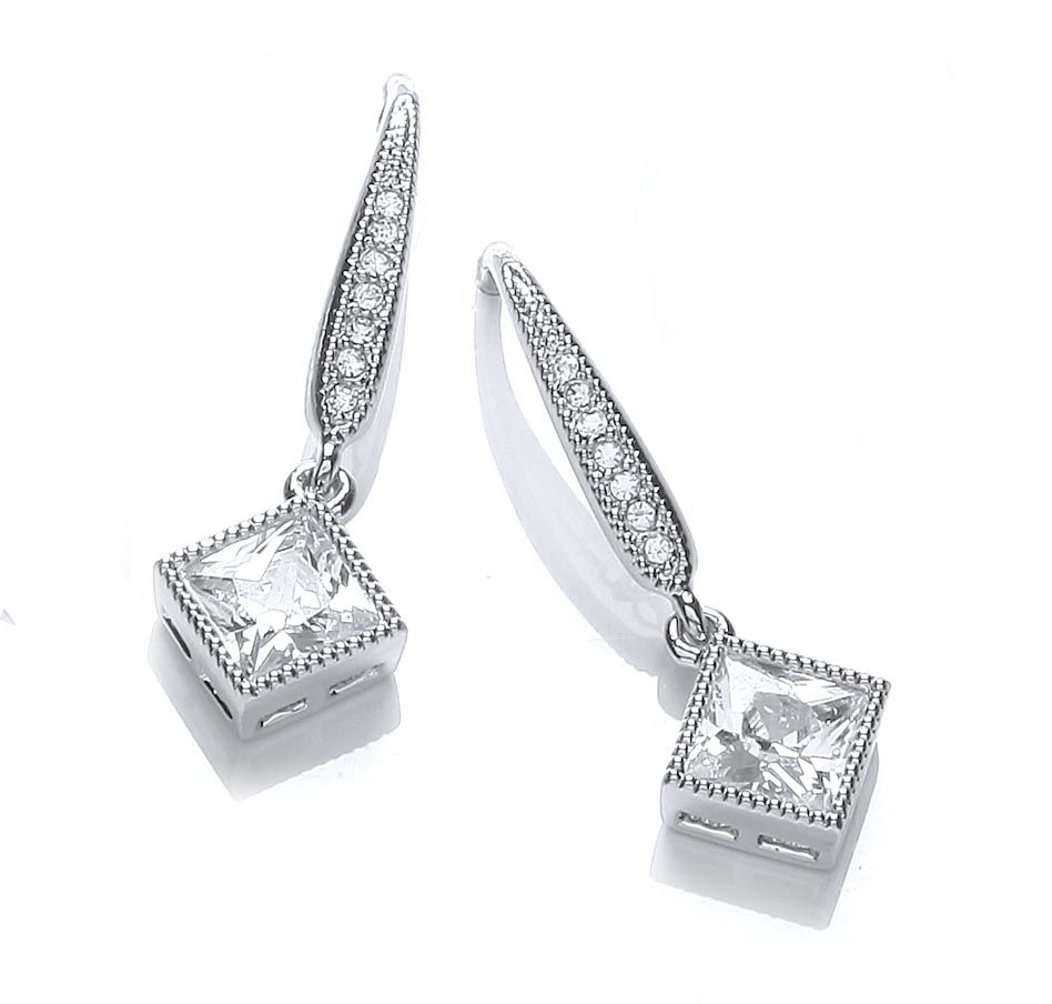 Rhodium plate millgrain sqaure earrings