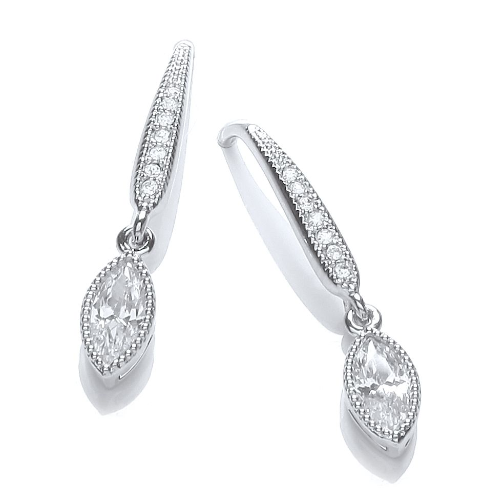 Rhodium plate millgrain navette earrings