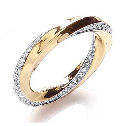 Two tone sleek pave twist ring