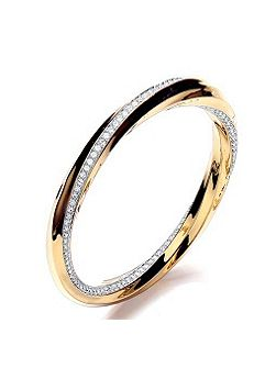 2tone sleek pave twist bangle