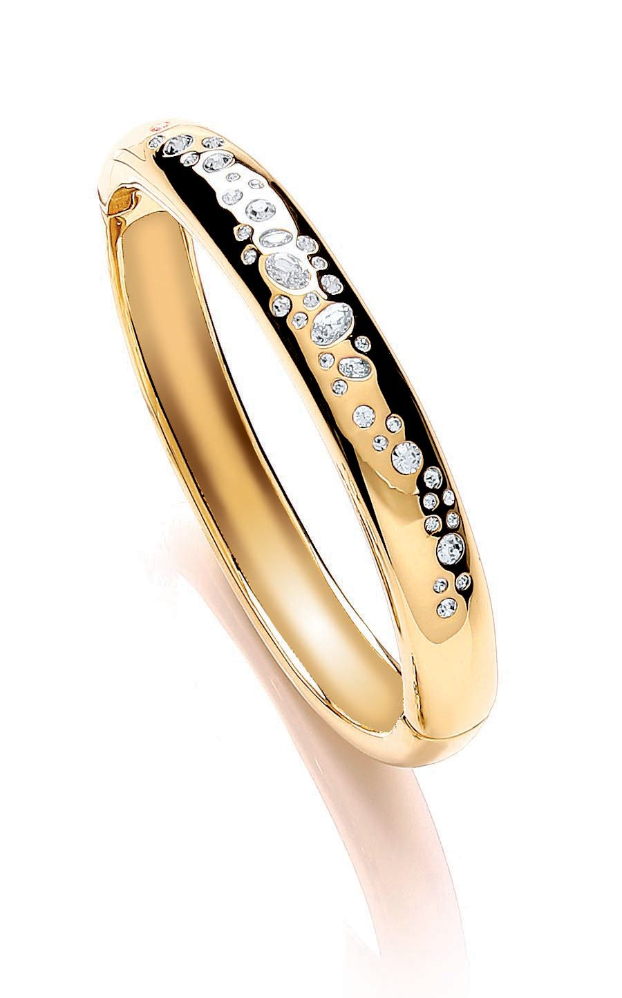 Gld plate scatter stone bangle