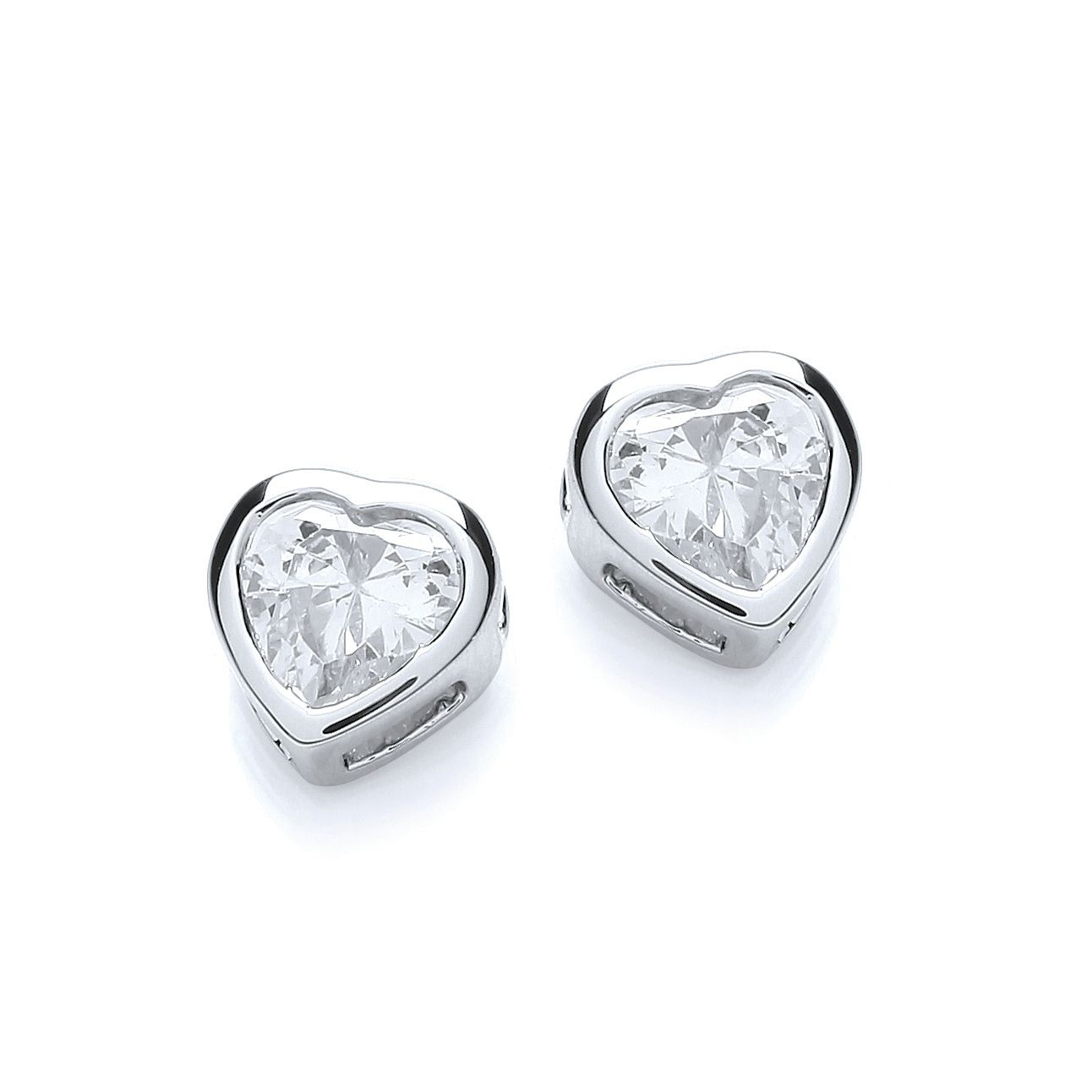 Rhodium plate simple heart earrings