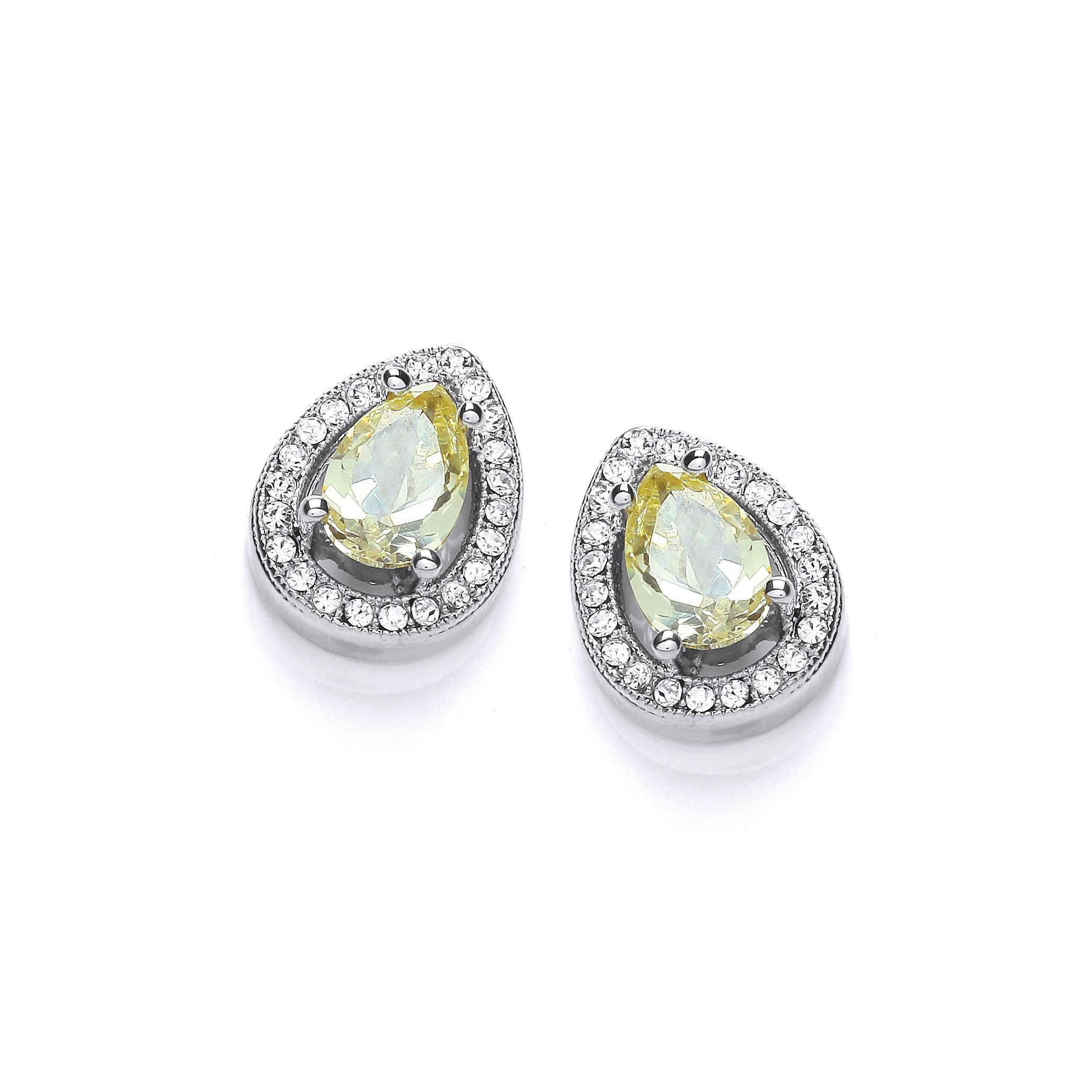 Rhodium plate delicate pear earrings
