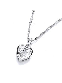 Rhodium plate simple heart pendant