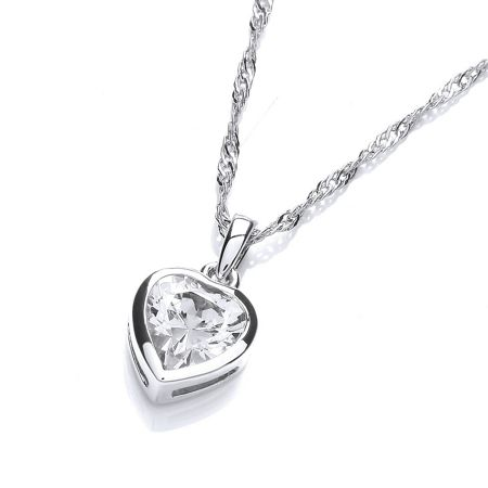 Buckley London Rhodium plate simple heart pendant