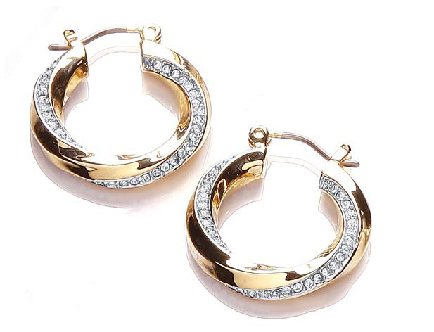 Two tone sleek pave twist hoop earrings