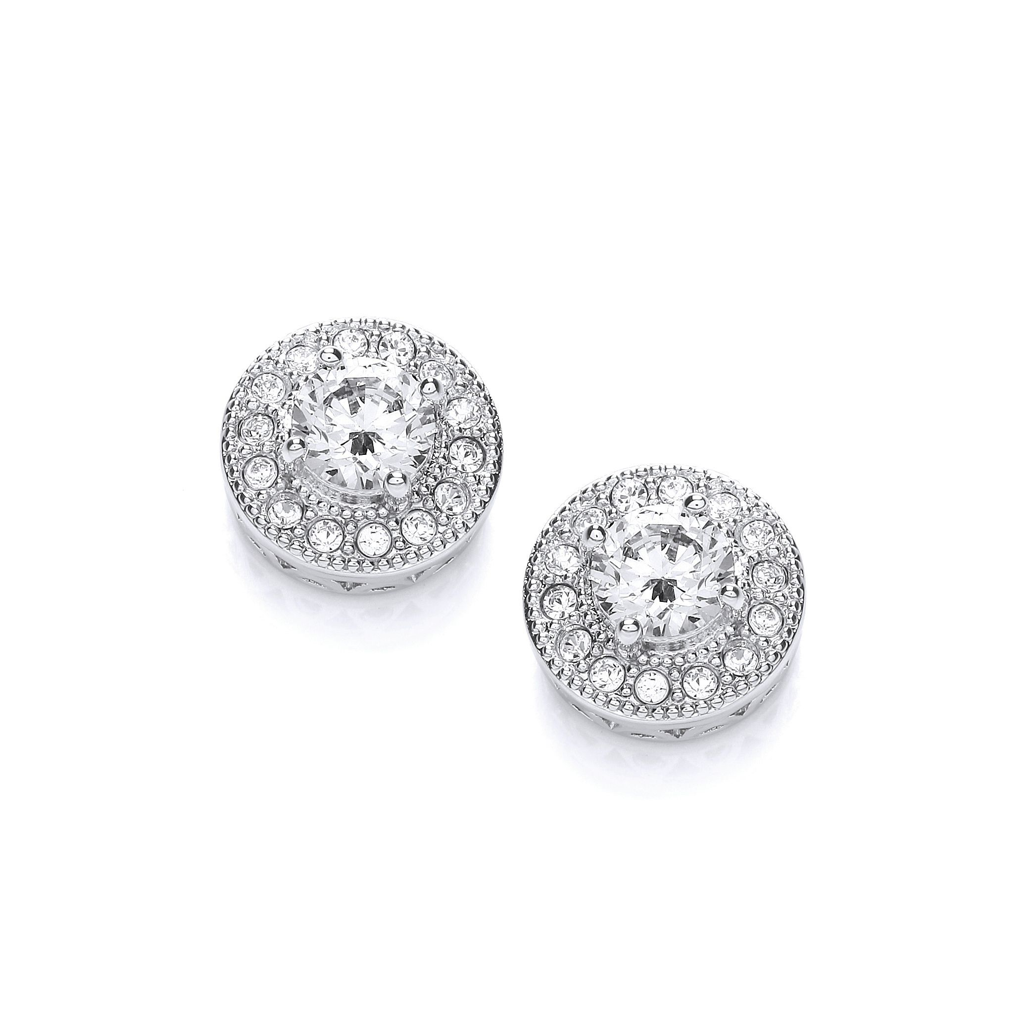 Rhodium plate vintage button earrings