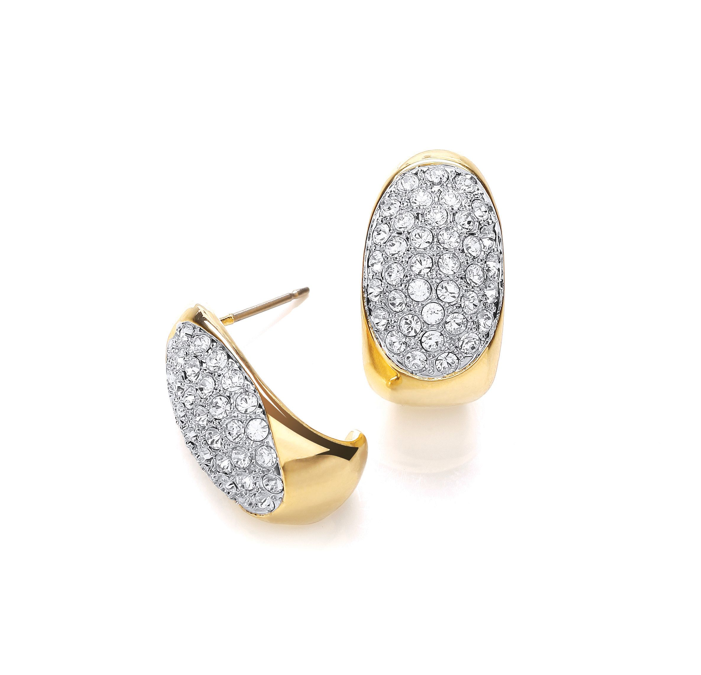 Two tone pave crystal hoop earrings