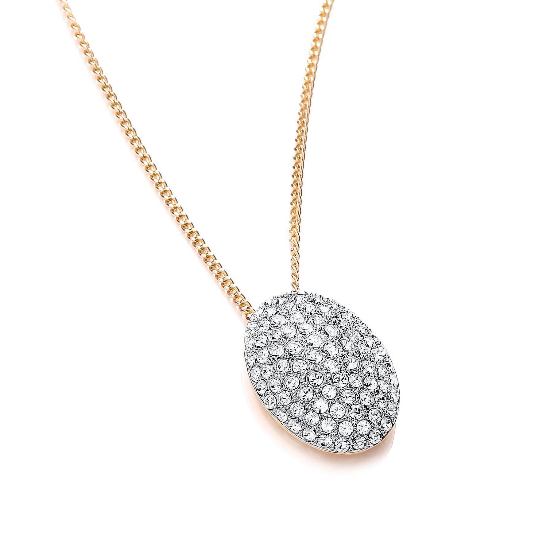 Two tone pave crystal pendant