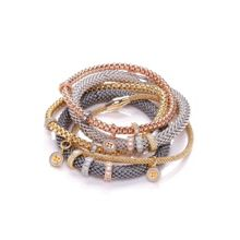 Bouton 4mm jewelled mesh bracelet