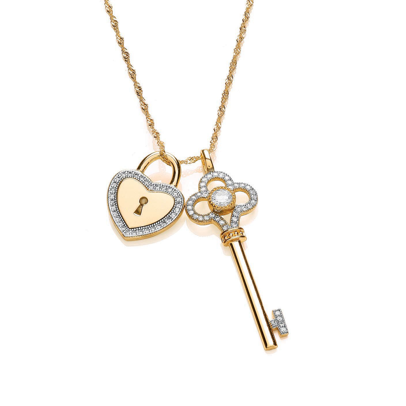bouton padlock and key pendant