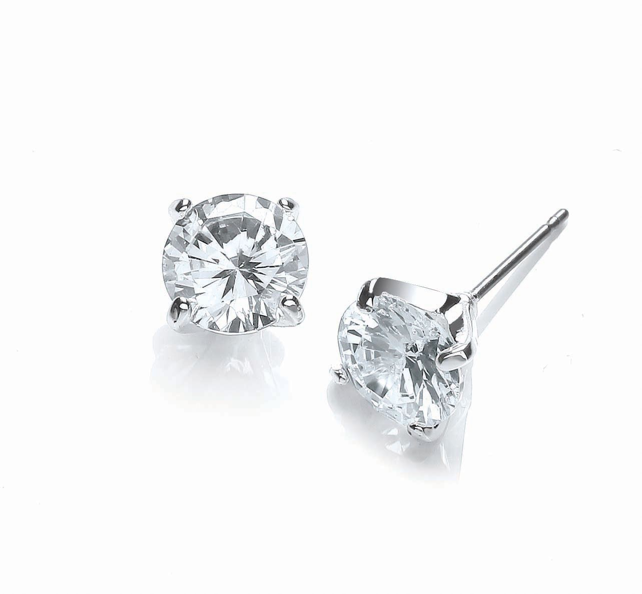buckley london rhodium large stud cz earrings