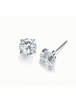 Rhodium large stud cz earrings