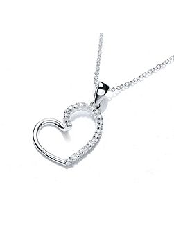 Rhodium plt cz heart loop pendant
