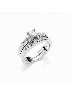 Rhodium wedding ring duo