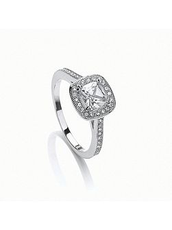 Rhodium plated cushion cut ring