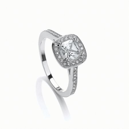 Buckley London Rhodium plated cushion cut ring