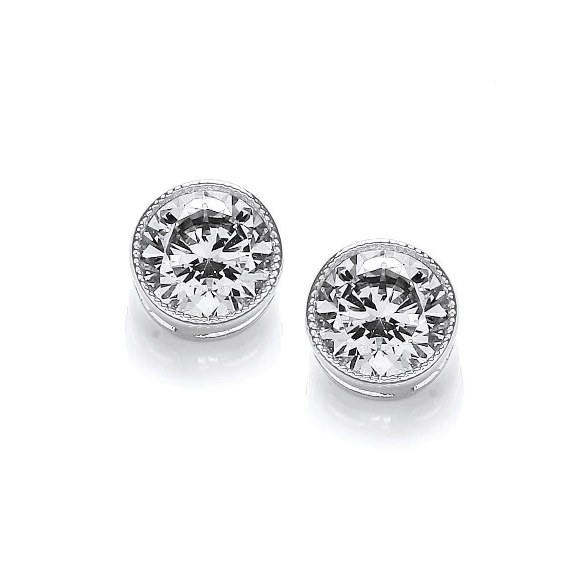 Rhodium simple round milgrain stud