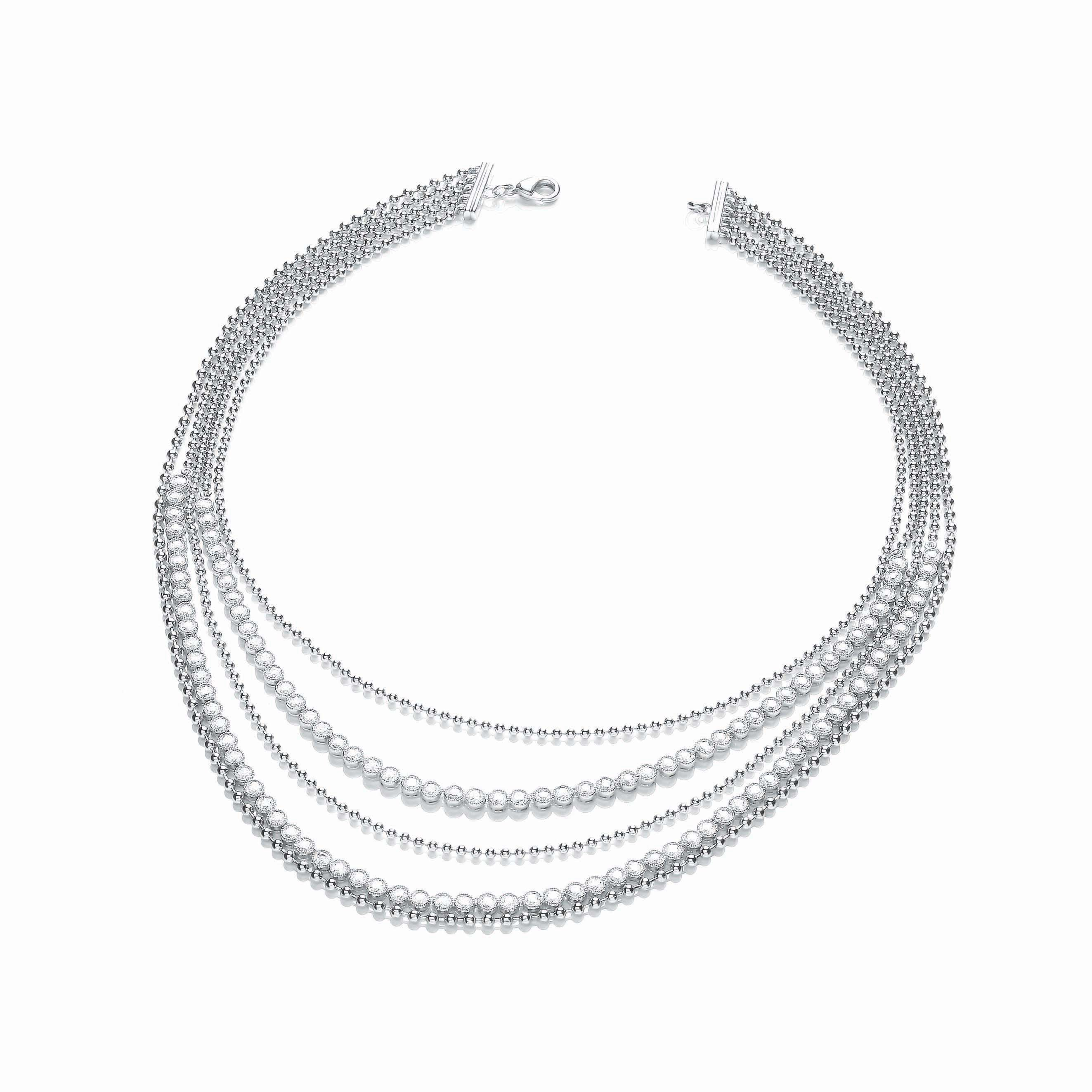 Rhodium sparkle beaded necklace