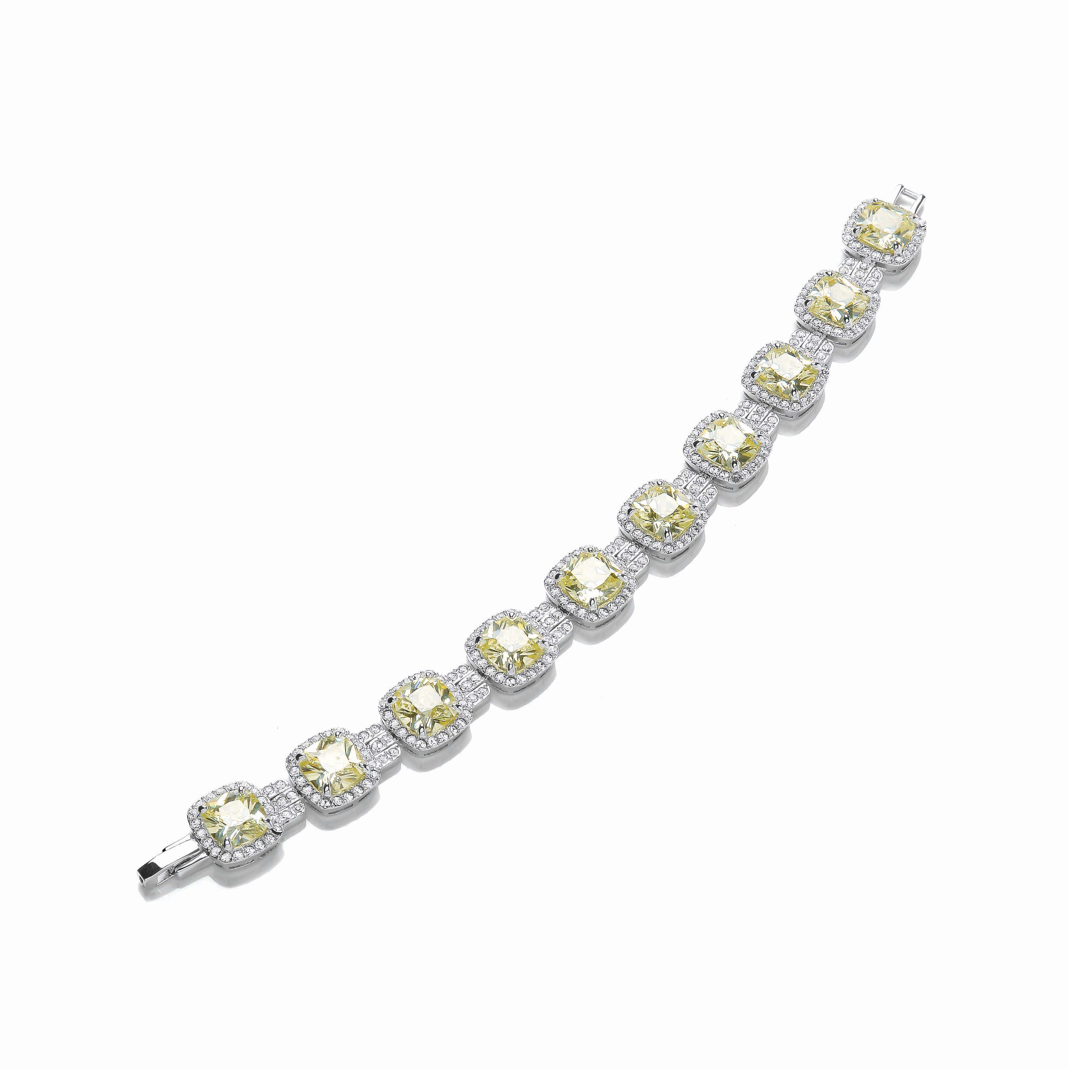Rhodium canary cushion bracelet