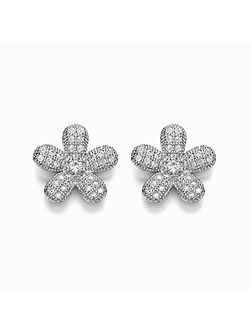 Micro pave floral stud earring