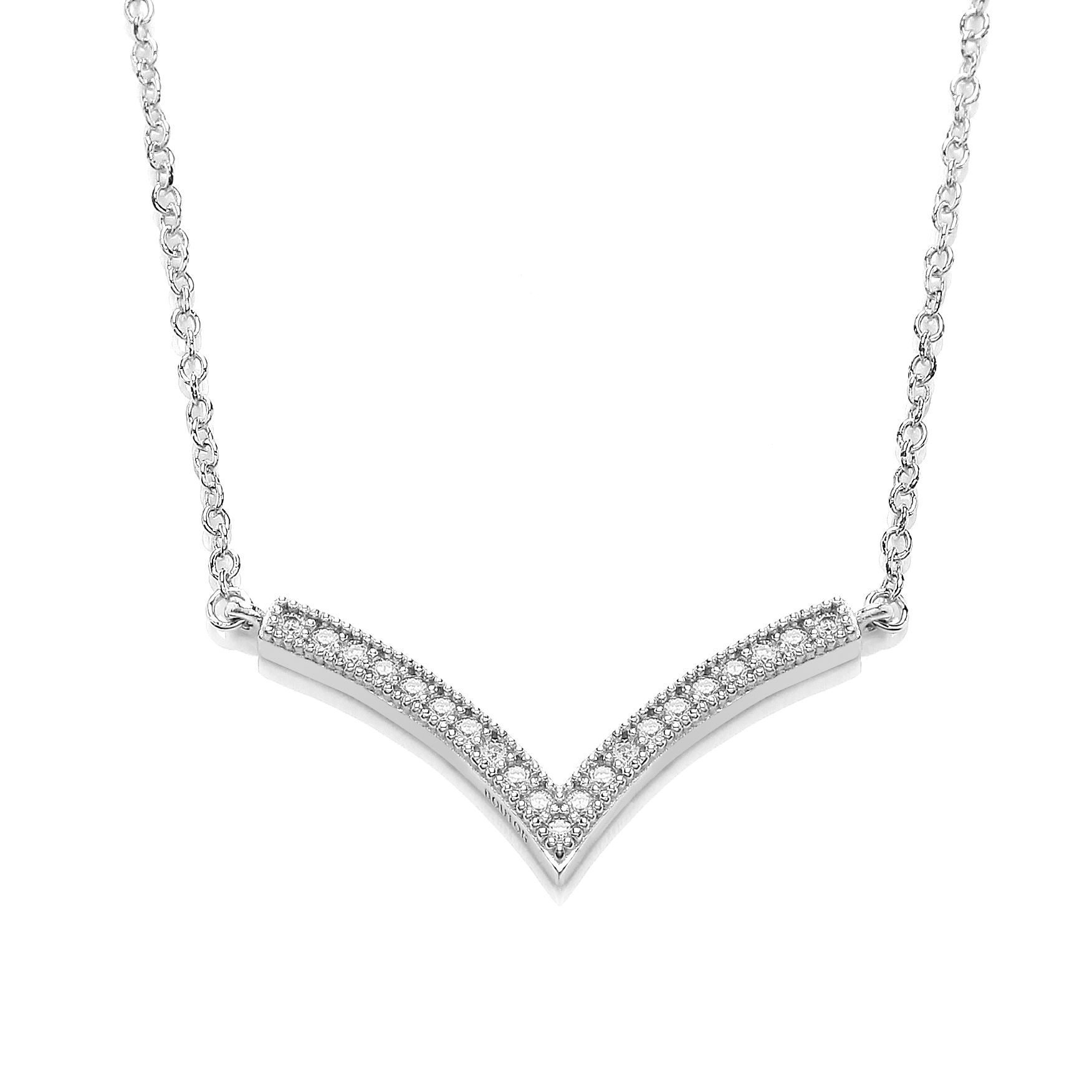 Rhodium wishbone necklace
