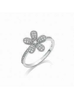 Micro pave floral ring