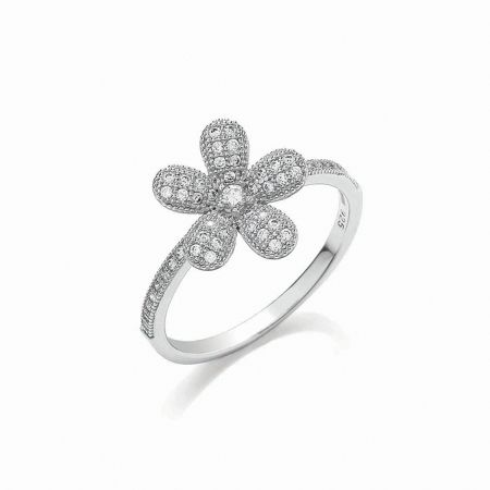 Bouton Micro pave floral ring