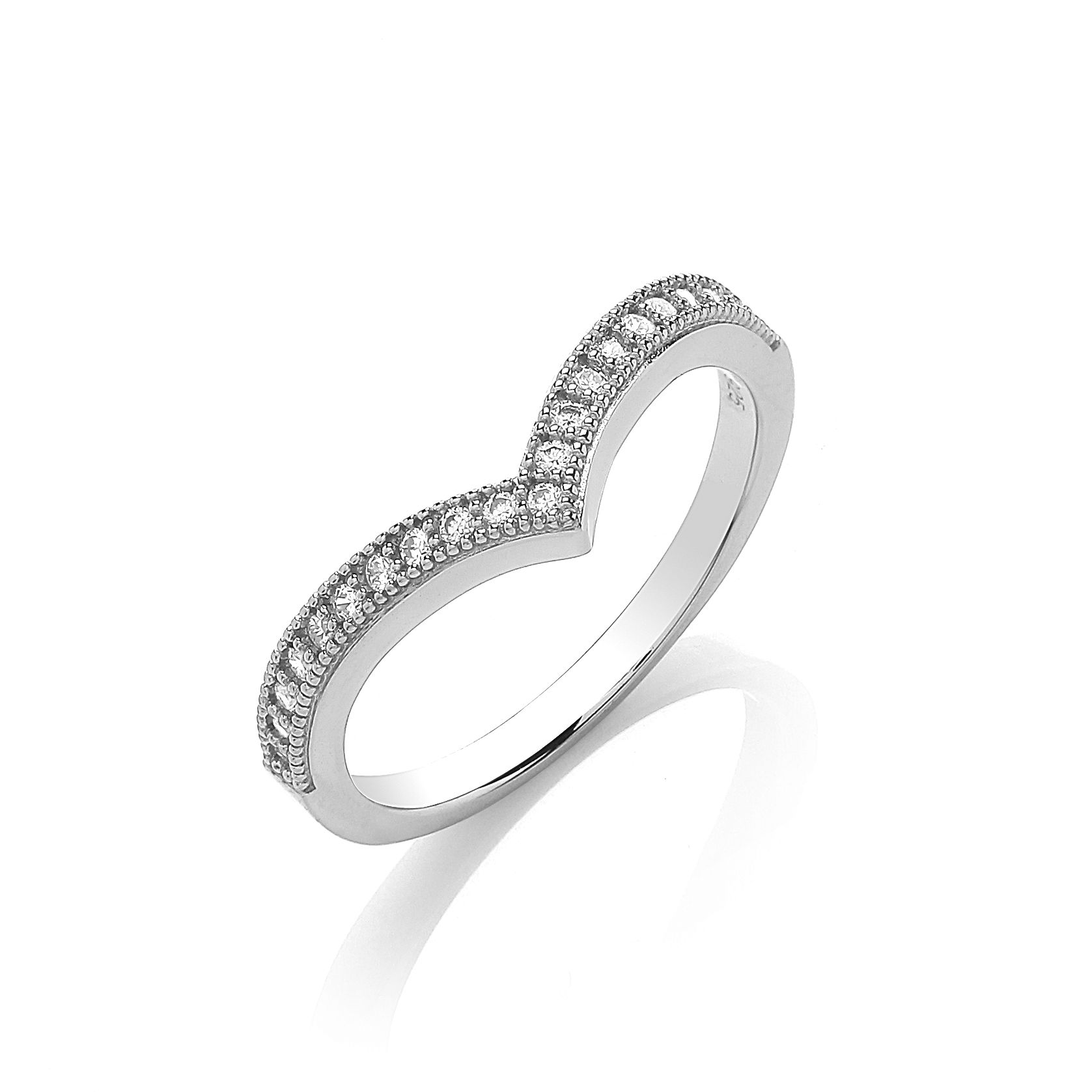 Rhodium wishbone ring