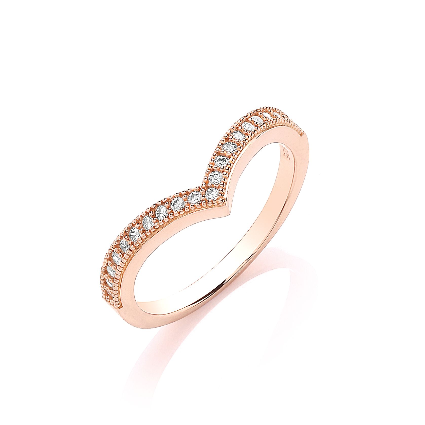 Rose gold wishbone ring