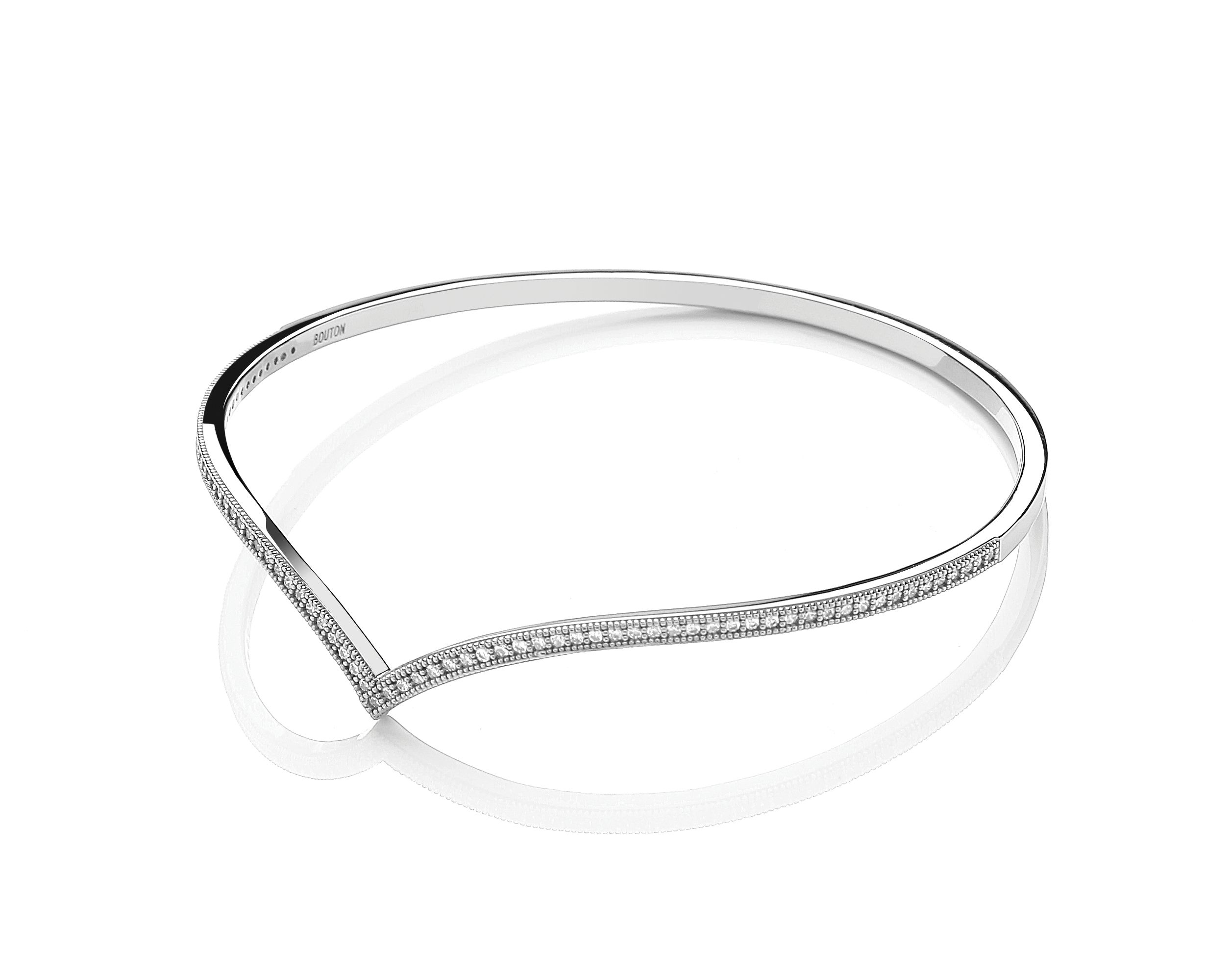 Rhodium wishbone bangle