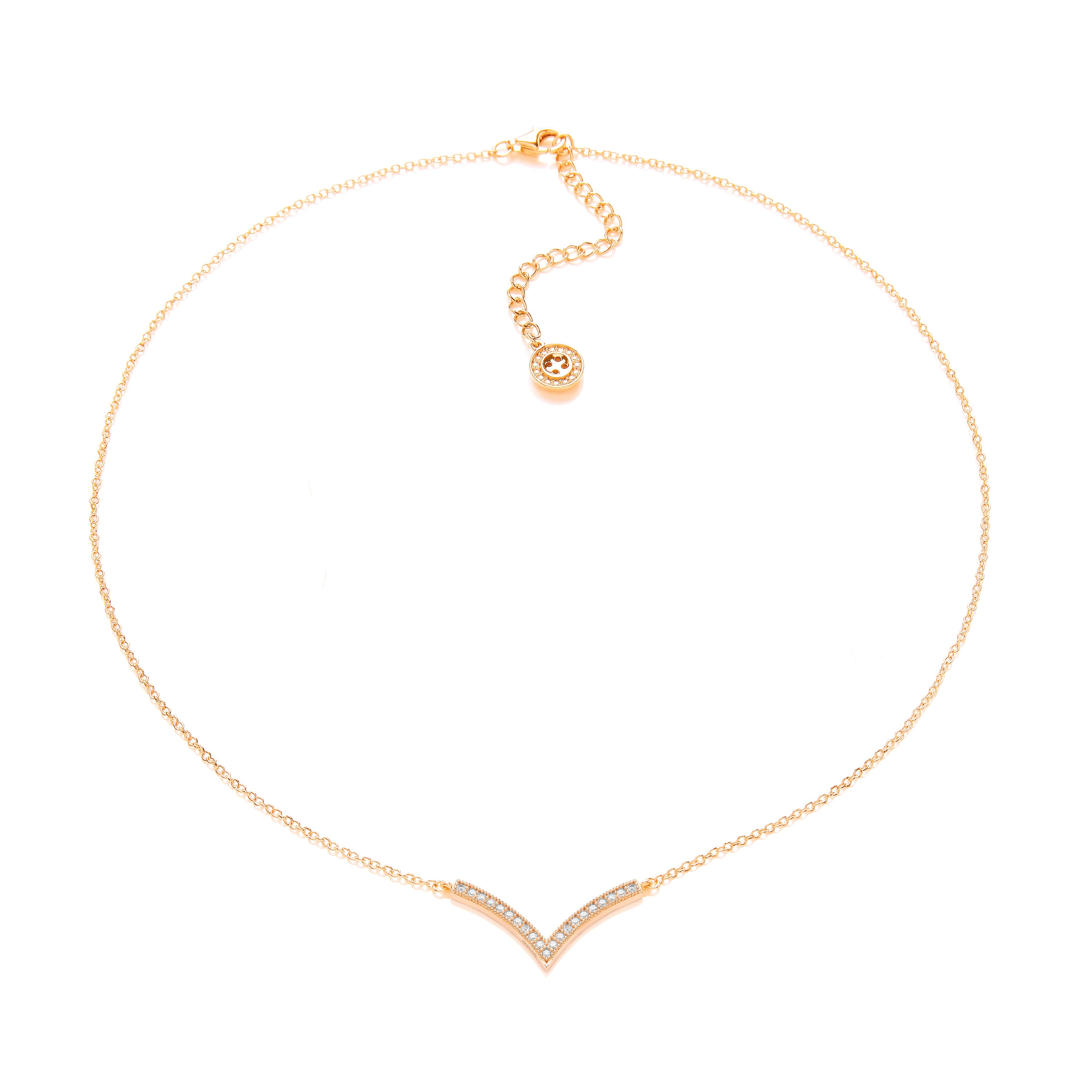 Gold wishbone necklace