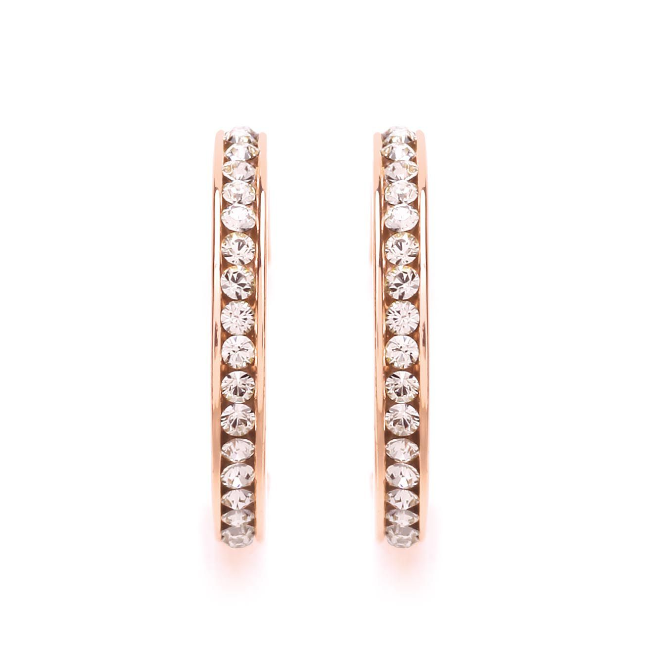 Buckley London Rose Gold Crystal Hoop Earrings Rose Gold