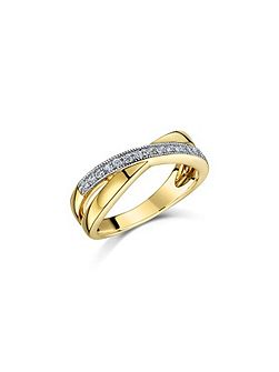 Gold millgrain crossover ring
