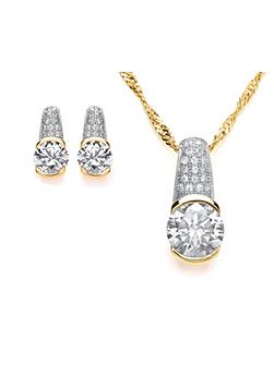 Chunky pave pendant and earrings set