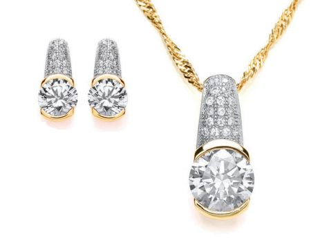 Bouton Chunky pave pendant and earrings set