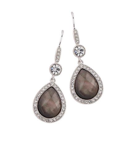 Buckley London BROWN SHELL PEAR DROP EARRINGS