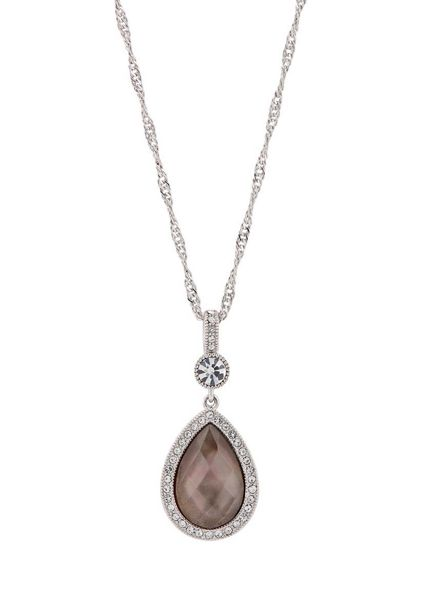 Buckley London BROWN SHELL PEAR DROP PENDANT