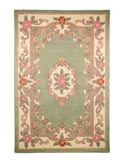 Aubusson green rug 75x150