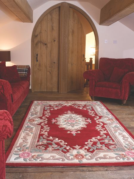 Flair Rugs Aubusson red round rug 120x180