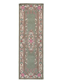Aubusson green rug 67x210