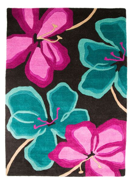 Flair Rugs Passion Flower Teal/Cerise Rug 120X170
