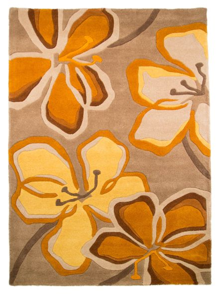 Flair Rugs Passion Flower Taupe/Ochre Rug 120X170
