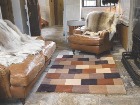 Flair Rugs Elm brown blocks rug 120x170cm